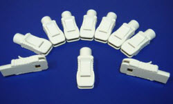 Clips-White ECG Adaptor  Fits any 3 mm to 4 mm lead wire (set of 10). CL-A34-10, clips ecg, lead wire clip, clear choice adapter clip, ehite ecg adapter clip