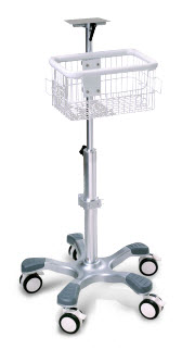 Edan MT207 Rolling Stand with Basket and locking Casters edan stand, rolling stand, ecg rolling stand, patient monitor stand, clayton stans rolling