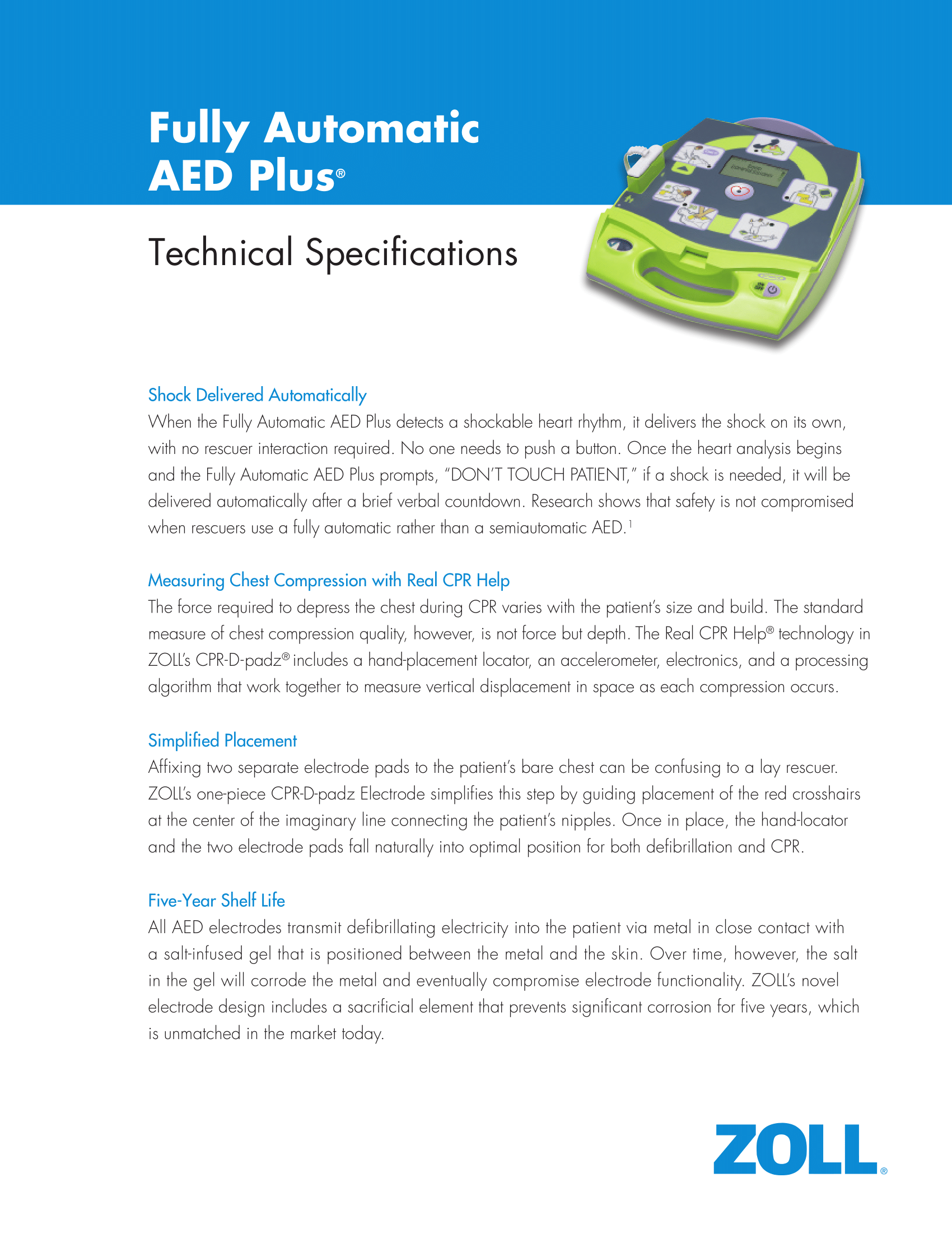 ZOLL AED Plus Fully or Automatic